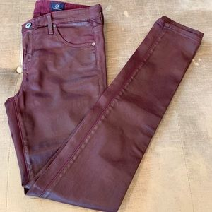 Adriano goldschmied maroon leather pants